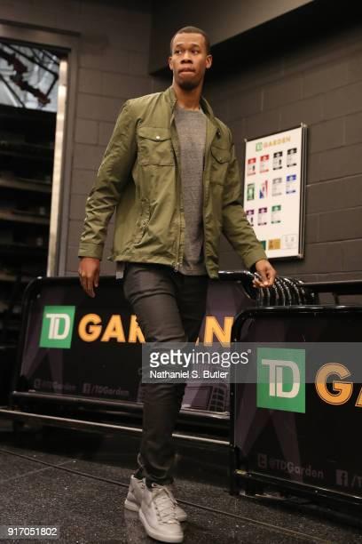 Rodney Hood of the Cleveland Cavaliers arrives before the game against the Boston Celtics on February 11 2018 at TD Garden in Boston Massachusetts...
