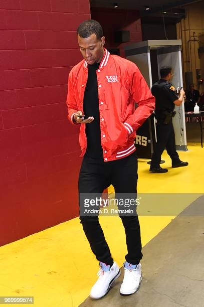 Rodney Hood of the Cleveland Cavaliers arrives before the game against the Golden State Warriors during Game Four of the 2018 NBA Finals on June 8...