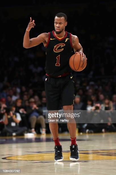 Rodney Hood of the Cleveland Cavaliers calls a play during the second half of a game against the Los Angeles Lakers at Staples Center on January 13...