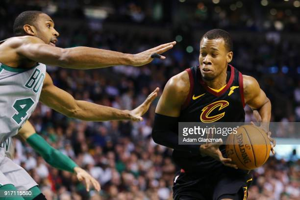 Rodney Hood of the Cleveland Cavaliers dribbles during a game against the Boston Celtics at TD Garden on February 11 2018 in Boston Massachusetts...