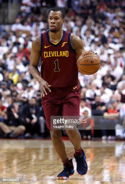 Rodney Hood of the Cleveland Cavaliers dribbles the ball in the second half of Game One of the Eastern Conference Semifinals against the Toronto...
