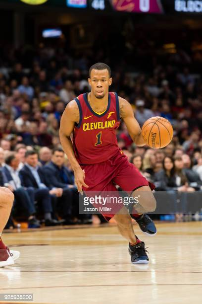Rodney Hood of the Cleveland Cavaliers drives to the basket against the Brooklyn Nets during the first half at Quicken Loans Arena on February 27...