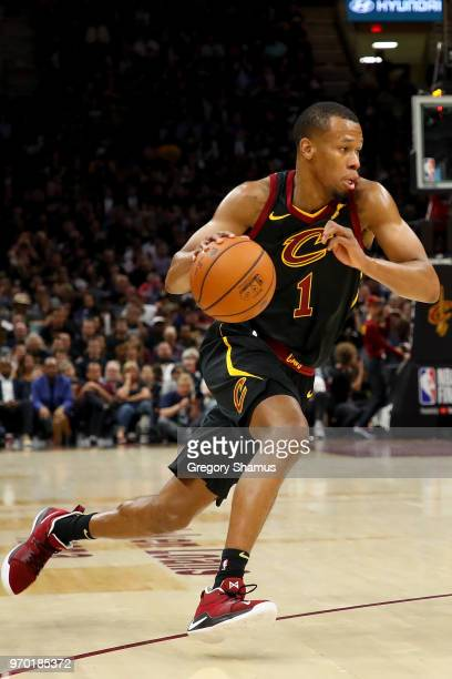 Rodney Hood of the Cleveland Cavaliers drives to the basket against the Golden State Warriors during Game Four of the 2018 NBA Finals at Quicken...