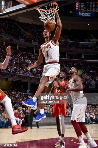Rodney Hood of the Cleveland Cavaliers dunks the ball against the Atlanta Hawks on October 30 2018 at Quicken Loans Arena in Cleveland Ohio NOTE TO...