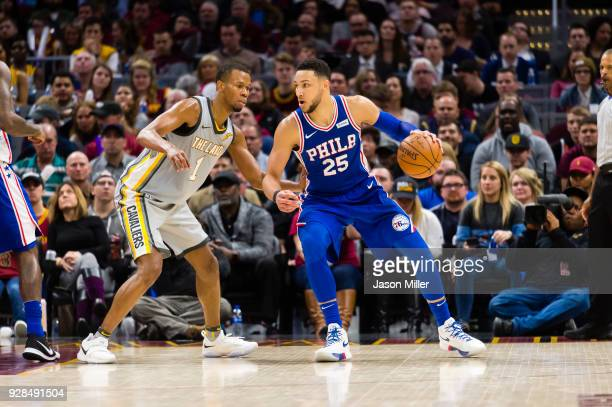 Rodney Hood of the Cleveland Cavaliers guards Ben Simmons of the Philadelphia 76ers during the second half at Quicken Loans Arena on March 1 2018 in...