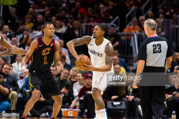 Rodney Hood of the Cleveland Cavaliers guards Bradley Beal of the Washington Wizards during the second half at Quicken Loans Arena on February 22...