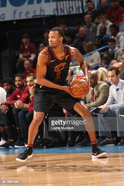 Rodney Hood of the Cleveland Cavaliers handles the ball against the Oklahoma City Thunder on February 13 2018 at Chesapeake Energy Arena in Oklahoma...