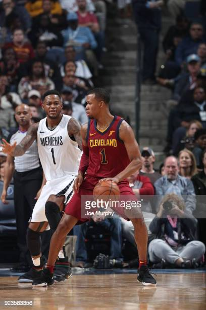 Rodney Hood of the Cleveland Cavaliers handles the ball against the Memphis Grizzlies on February 23 2018 at FedExForum in Memphis Tennessee NOTE TO...