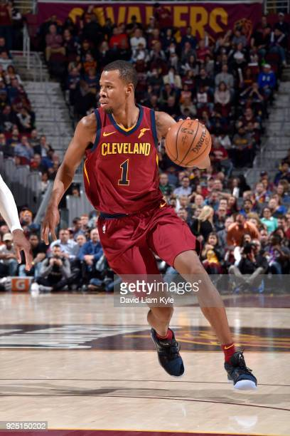 Rodney Hood of the Cleveland Cavaliers handles the ball against the Brooklyn Nets on February 27 2018 at Quicken Loans Arena in Cleveland Ohio NOTE...