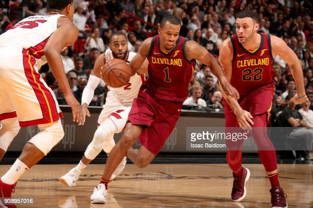 Rodney Hood of the Cleveland Cavaliers handles the ball against the Miami Heat on March 27 2018 at American Airlines Arena in Miami Florida NOTE TO...