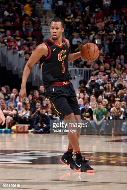 Rodney Hood of the Cleveland Cavaliers handles the ball against the Toronto Raptors during Game Three of the Eastern Conference Semi Finals of the...
