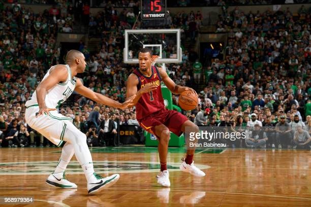 Rodney Hood of the Cleveland Cavaliers handles the ball against the Boston Celtics in Game Two of the Eastern Conference Finals during the 2018 NBA...