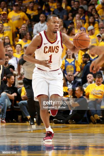 Rodney Hood of the Cleveland Cavaliers handles the ball against the Golden State Warriors in Game Two of the 2018 NBA Finals on June 3 2018 at ORACLE...