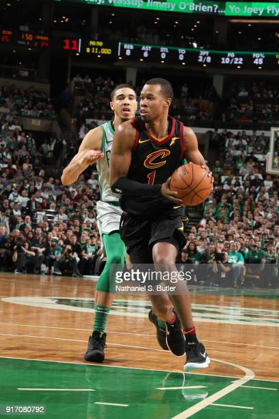 Rodney Hood of the Cleveland Cavaliers handles the ball during the game against the Boston Celtics on February 11 2018 at TD Garden in Boston...