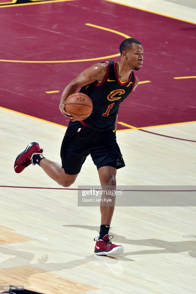 OH - Rodney Hood #1 of the Cleveland Cavaliers handles the ball during the game against the Golden State Warriors in Game Four of the 2018 NBA Finals on June 8, 2018 at Quicken Loans Arena in Cleveland, Ohio.