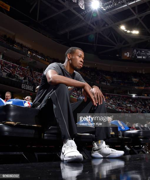 Rodney Hood of the Cleveland Cavaliers looks on before the game against the Philadelphia 76ers on March 1 2018 at Quicken Loans Arena in Cleveland...