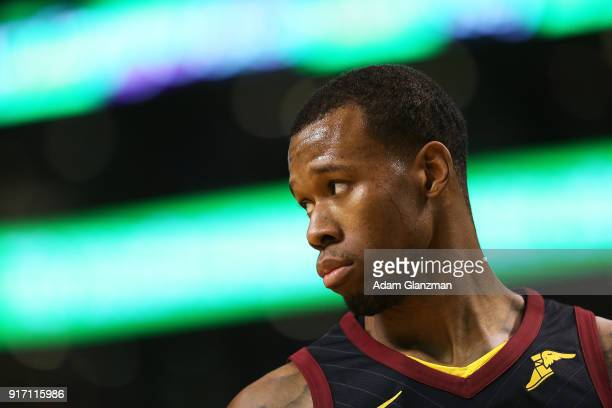 Rodney Hood of the Cleveland Cavaliers reacts in the second half during a game against the Boston Celtics at TD Garden on February 11 2018 in Boston...