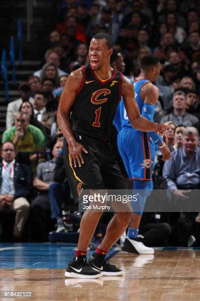 Rodney Hood of the Cleveland Cavaliers reacts to a play during the game against the Oklahoma City Thunder on February 13 2018 at Chesapeake Energy...