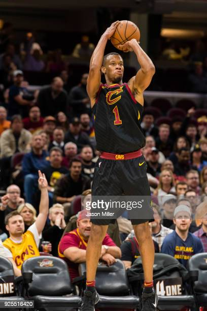Rodney Hood of the Cleveland Cavaliers shoots during the second half against the Washington Wizards at Quicken Loans Arena on February 22 2018 in...
