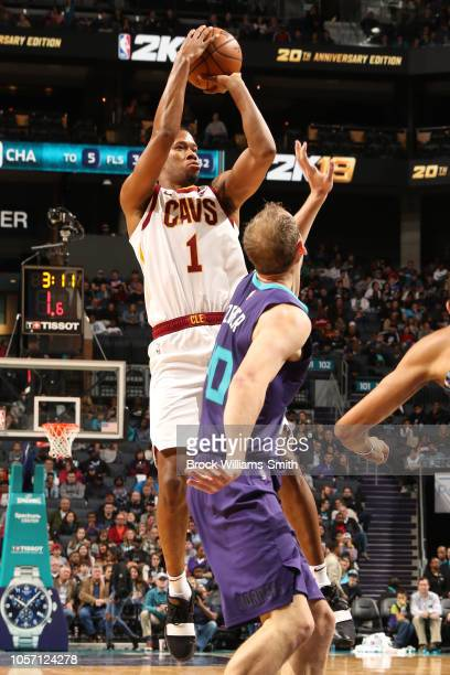 Rodney Hood of the Cleveland Cavaliers shoots the ball against the Charlotte Hornets on November 3 2018 at Spectrum Center in Charlotte North...
