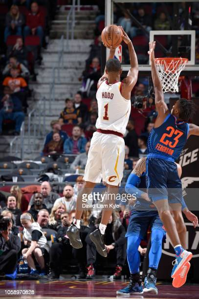 Rodney Hood of the Cleveland Cavaliers shoots the ball against the Oklahoma City Thunder on November 7 2018 at Quicken Loans Arena in Cleveland Ohio...