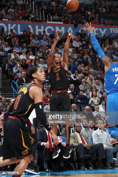 Rodney Hood of the Cleveland Cavaliers shoots the ball against the Oklahoma City Thunder on February 13 2018 at Chesapeake Energy Arena in Oklahoma...
