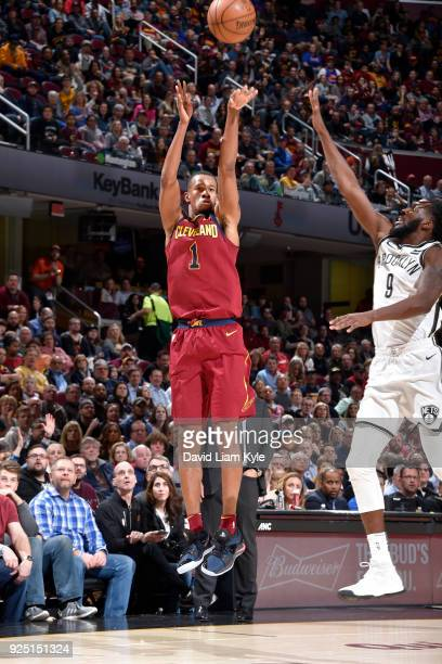 Rodney Hood of the Cleveland Cavaliers shoots the ball against the Brooklyn Nets on February 27 2018 at Quicken Loans Arena in Cleveland Ohio NOTE TO...
