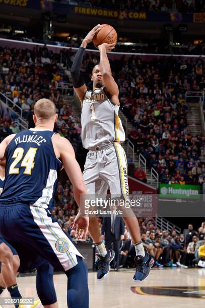 Rodney Hood of the Cleveland Cavaliers shoots the ball against the Denver Nuggets on March 3 2018 at Quicken Loans Arena in Cleveland Ohio NOTE TO...