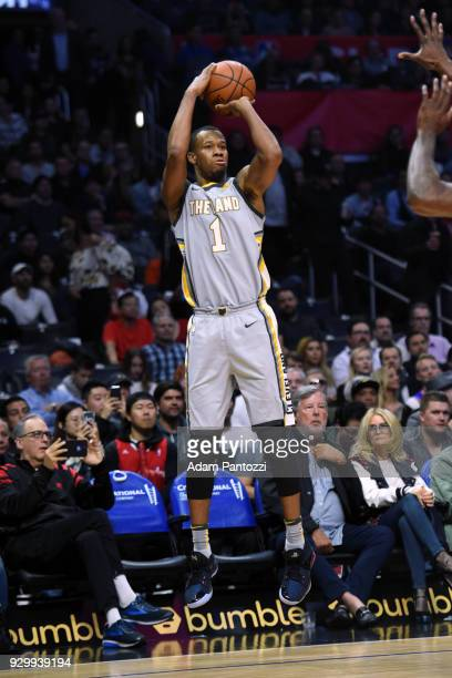Rodney Hood of the Cleveland Cavaliers shoots the ball against the LA Clippers on March 8 2018 at STAPLES Center in Los Angeles California NOTE TO...