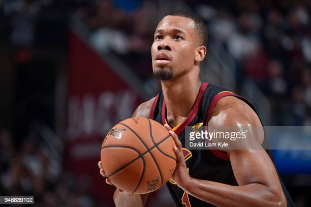 Rodney Hood of the Cleveland Cavaliers shoots the ball against the Indiana Pacers in Game One of Round One during the 2018 NBA Playoffs on April 15...