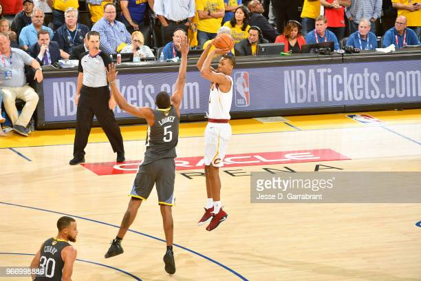 Rodney Hood of the Cleveland Cavaliers shoots the ball against the Golden State Warriors in Game Two of the 2018 NBA Finals on June 3 2018 at ORACLE...