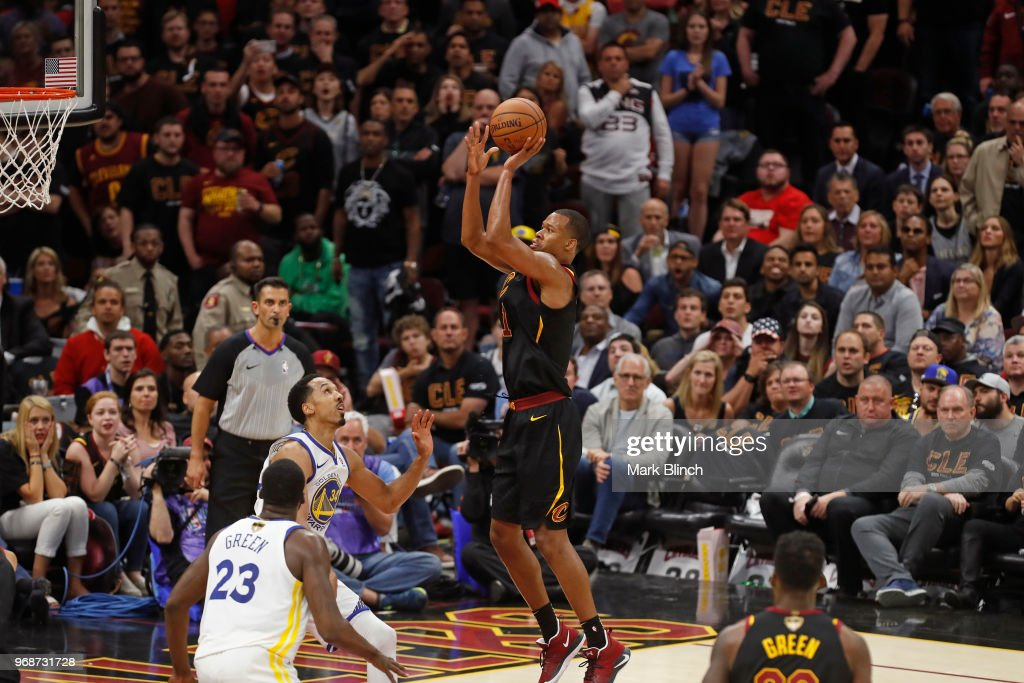 Rodney Hood #1 of the Cleveland Cavaliers shoots the ball against the Golden State Warriors in Game Three of the 2018 NBA Finals on June 6, 2018 at Quicken Loans Arena in Cleveland, Ohio.