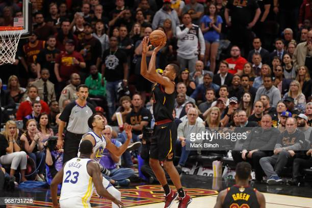 Rodney Hood of the Cleveland Cavaliers shoots the ball against the Golden State Warriors in Game Three of the 2018 NBA Finals on June 6 2018 at...