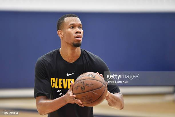 Rodney Hood of the Cleveland Cavaliers shoots the ball during practice as his team prepares for Game Three of the NBA Eastern Conference Semifinals...