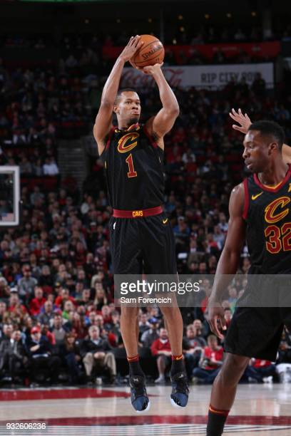 Rodney Hood of the Cleveland Cavaliers shoots the ball during the game against the Portland Trail Blazers on March 15 2018 at the Moda Center in...