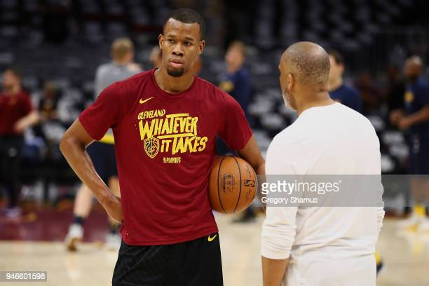 Rodney Hood of the Cleveland Cavaliers warms up prior to playing the Indiana Pacers in Game One of the Eastern Conference Quarterfinals during the...