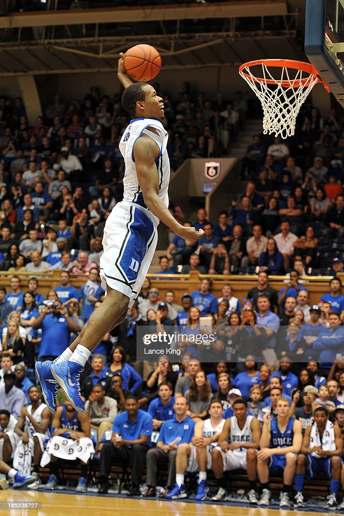 Rodney Hood #5 of the Duke Blue Devils competes in a dunk contest during Countdown to Craziness at Cameron Indoor Stadium on October 18, 2013 in Durham, North Carolina.