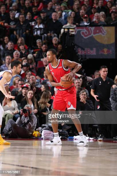 Rodney Hood of the Portland Trail Blazers handles the ball against the Philadelphia 76ers on November 2 2019 at the Moda Center Arena in Portland...