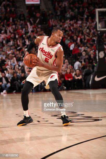 Rodney Hood of the Portland Trail Blazers handles the ball against the Oklahoma City Thunder on November 27 2019 at the Moda Center Arena in Portland...