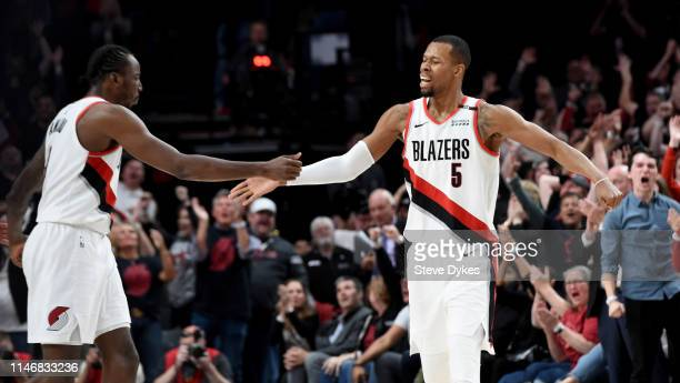 Rodney Hood of the Portland Trail Blazers hits what turned out to be the game winning shot during the fourth overtime of game three of the Western...