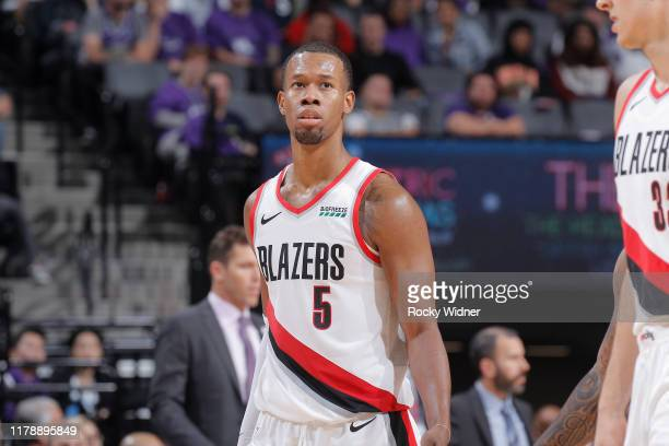 Rodney Hood of the Portland Trail Blazers looks on during the game against the Sacramento Kings on October 25 2019 at Golden 1 Center in Sacramento...