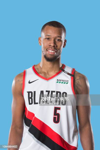 Rodney Hood of the Portland Trail Blazers poses for a portrait on February 6 2019 at the Trail Blazer Practice Facility in Portland Oregon NOTE TO...
