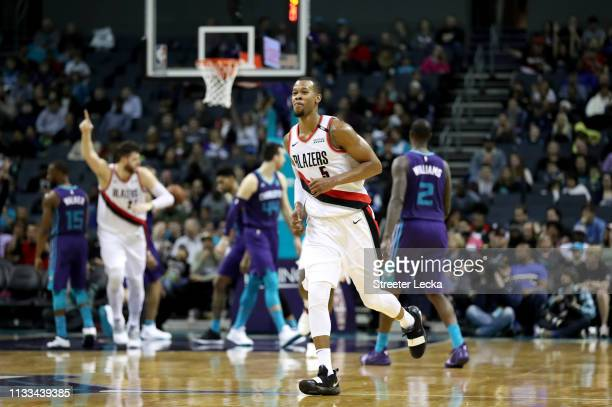 Rodney Hood of the Portland Trail Blazers reacts after a play against the Charlotte Hornets during their game at Spectrum Center on March 03 2019 in...