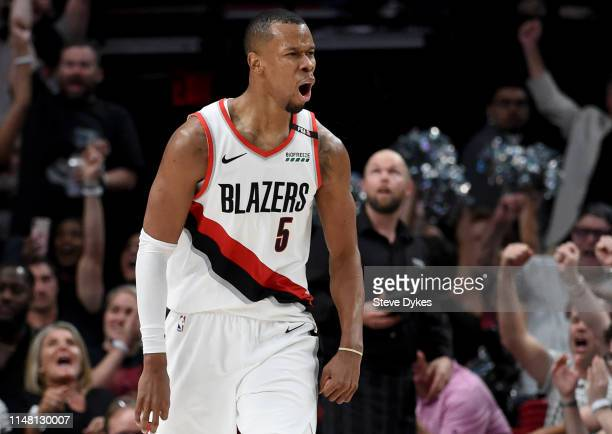 Rodney Hood of the Portland Trail Blazers reacts after hitting a shot in the second half of Game Six of the Western Conference Semifinals against the...