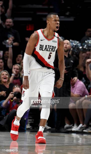Rodney Hood of the Portland Trail Blazers reacts after hitting a shot during the second half of Game Six of the Western Conference Semifinals Denver...