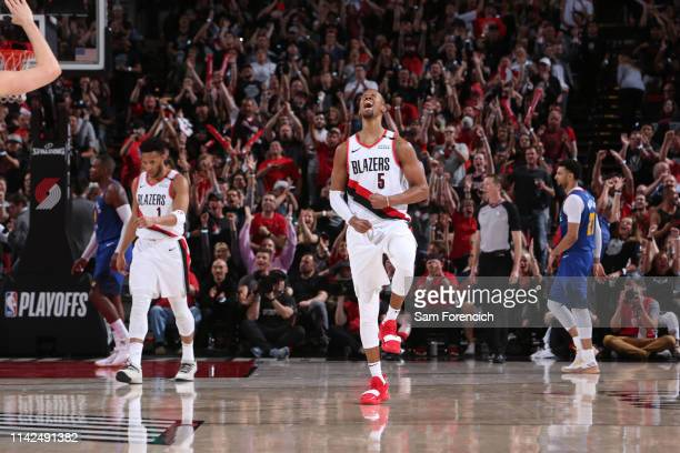 Rodney Hood of the Portland Trail Blazers reacts during a game against the Denver Nuggets during Game Six of the Western Conference Semifinals on May...