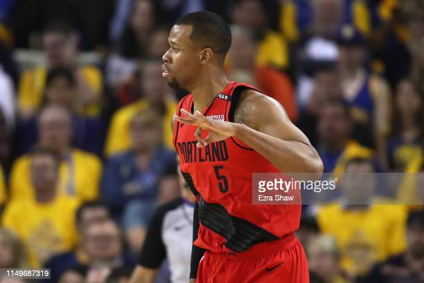 Rodney Hood of the Portland Trail Blazers reacts to a play against the Golden State Warriors in game two of the NBA Western Conference Finals at...