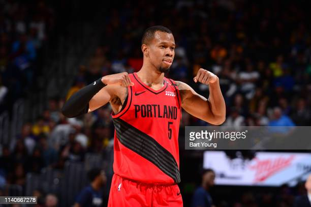 Rodney Hood of the Portland Trail Blazers reacts to play against the Denver Nuggets during Game Two of the Western Conference Semifinals of the 2019...