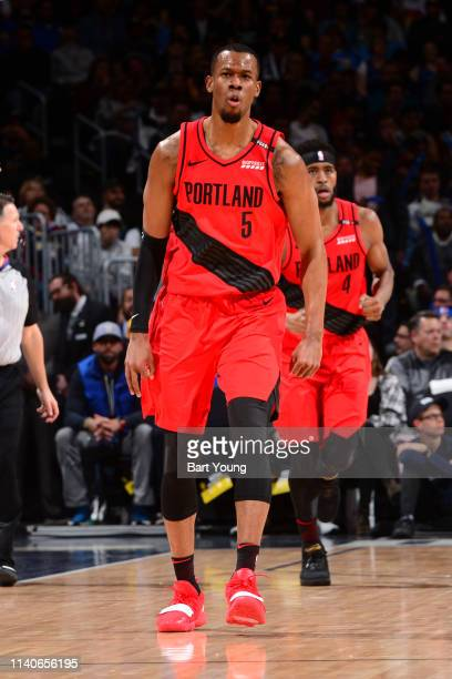 Rodney Hood of the Portland Trail Blazers reacts to play during the game against the Denver Nuggets during Game Two of the Western Conference...
