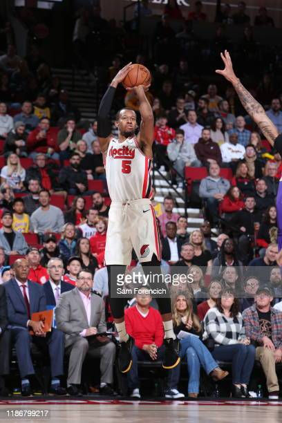 Rodney Hood of the Portland Trail Blazers shoots a threepointer against the Los Angeles Lakers on December 6 2019 at the Moda Center Arena in...
